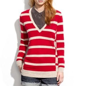 Madewell Wallace Red Striped V Neck Sweater NWT